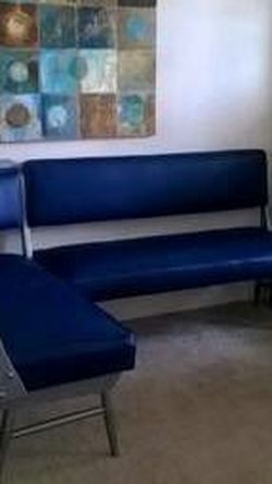 Retro Blue and Silver Booth Sectional Sofa Couch Diner Seat for Sale in Arlington,  VA