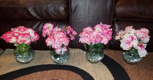 NEW FLOWERS, VASES, AND GLASS BEADS $36 FOR ALL 4 for Sale in St. Louis, MO