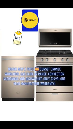 Save 40% Brand New Whirlpool Bronze Stainless Slide in Gas Range+dishwasher+microwave one year warranty! for Sale in Dublin, CA