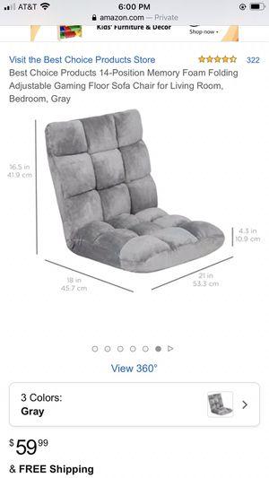 Memory Foam Folding Adjustable Gaming Floor Sofa Chair Gray for Sale in Sunnyvale, CA
