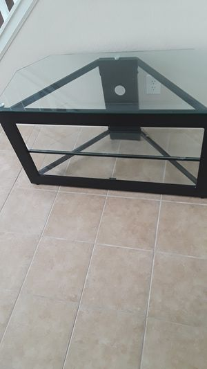 TV Stand with 3 Glass Shelves for Sale in Highlands Ranch, CO