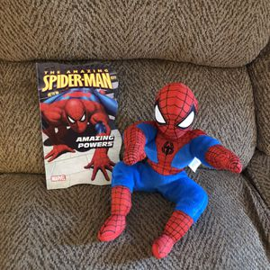 Spiderman plush toy with book for Sale in St. Peters, MO