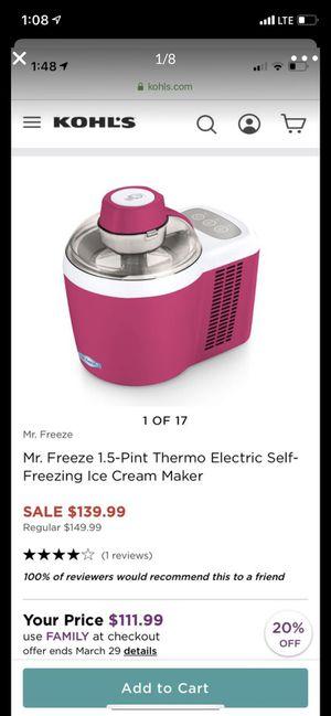 Mr Freeze 1.5 pint self freezing ice cream maker brand new open box for Sale in Las Vegas, NV