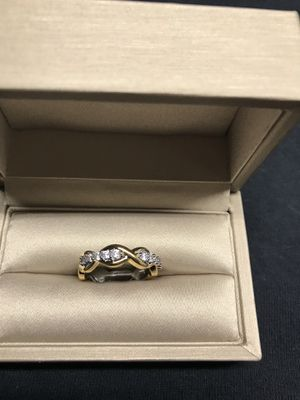 14k two tone white and yellow gold plated over 925 stamped sterling silver with Cubic Zirconia engagement promise ring for Sale in Addison, IL