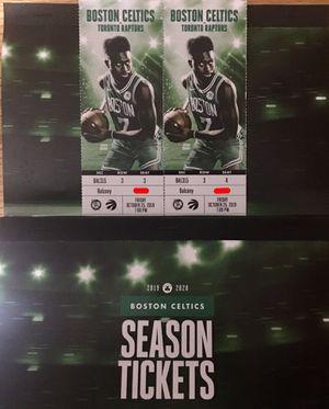 2 Tickets Celtics vs Raptors Friday October 25th 7:00pm @ TD Garden for Sale in Winthrop, MA