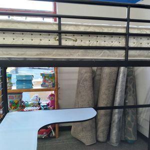 Black Metal Frame Bunk Bed With White Built In Desk. for Sale in Newark, NJ