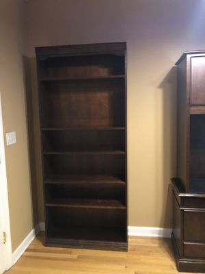 Executive, dark wood 6' bookshelf. Solid wood, quality construction. wood, dark stain. Beautiful for Sale in Raleigh, NC