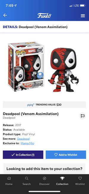 Deadpool (venom) POp In A Box Exclusive for Sale in Rosemead, CA