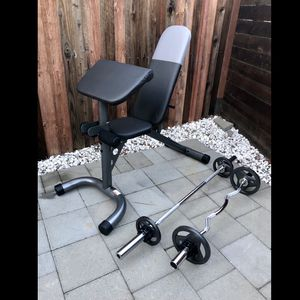 (Brand New) Adjustable Bench with Olympic Barbell and Curl Bar with Weights for Sale in San Jose, CA