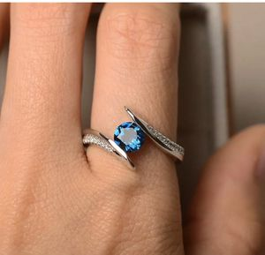 Gorgeous 925 Silver Rings for Women Round Cut Aquamarine Ring Size 7 price is firm for Sale in San Jose, CA