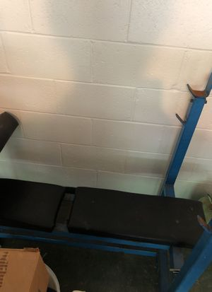 6 in one weight bench. Dips preacher curls squat bench incline bench. Press adjustable height to put bar on for Sale in Pittsburgh, PA