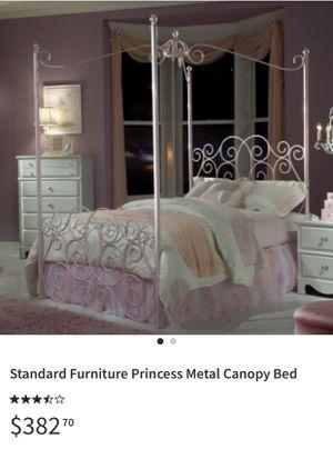 Standard princess metal canopy bed frame for Sale in Kansas City, KS