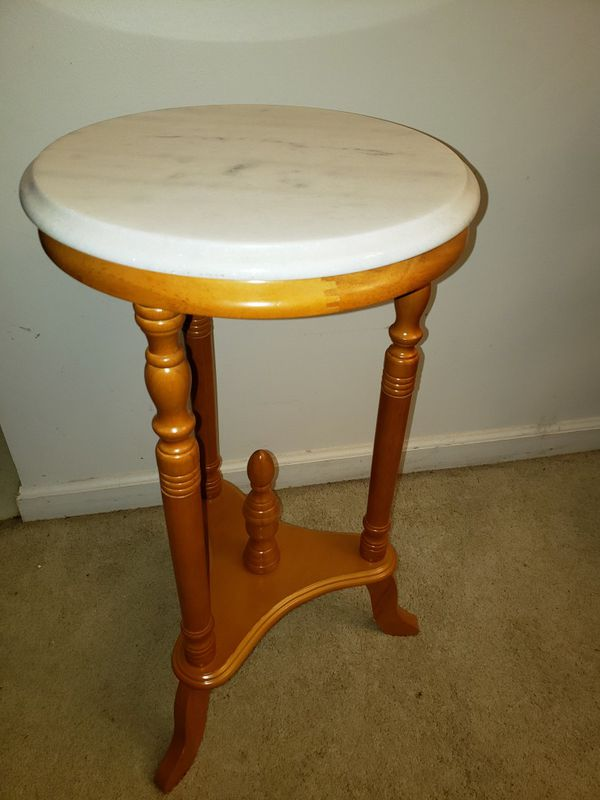 "Marble Top Round Plant Stand 27""×14"""