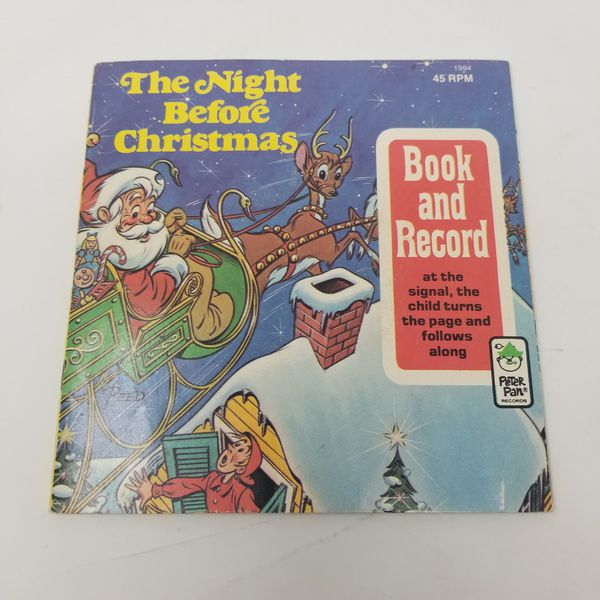 Peter Pan Record The Night Before Christmas Book & Record 45rpm 1977