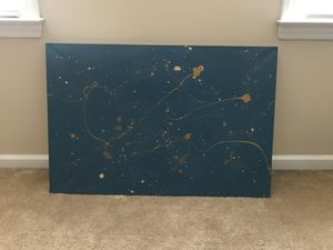 Abstract navy and gold painting wall art for Sale in Raleigh, NC
