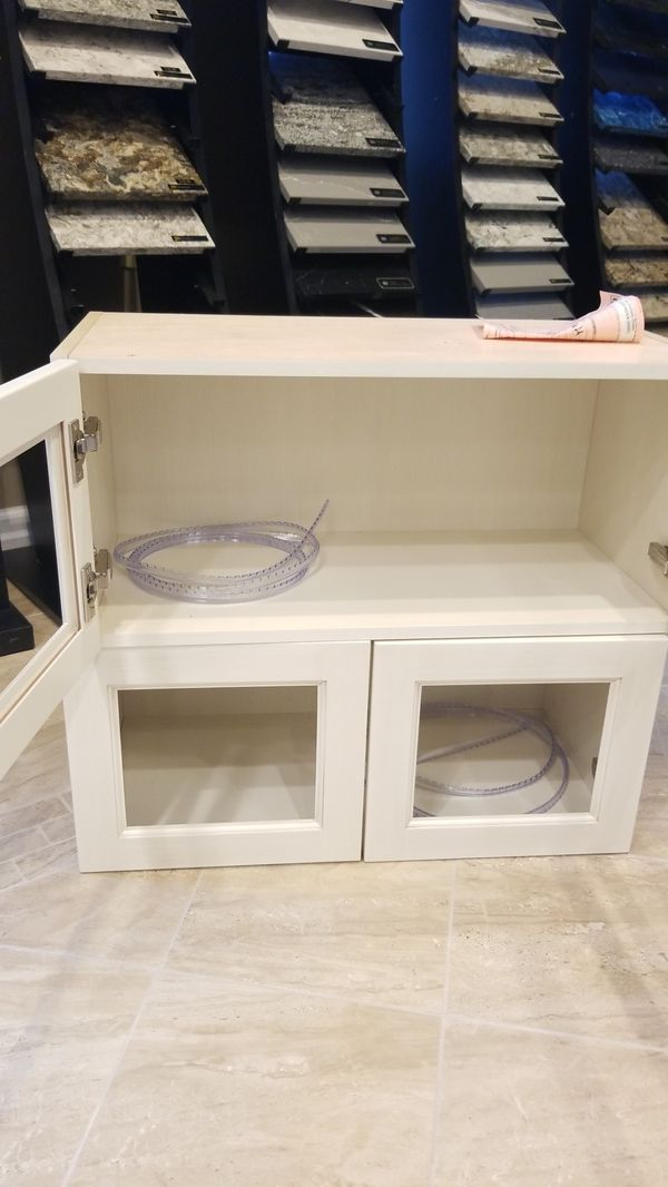 Cream glass ready kitchen or buffet cabinet