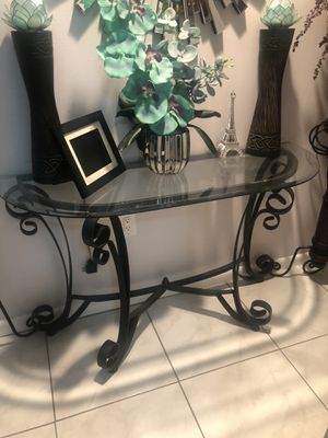 Console Table, beveled iron and glass base for Sale in St. Petersburg, FL