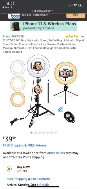 """10"""" Ring Light with Stand, Selfie Ring Light with Tripod Stand & Cell Phone Holder for Live Stream, YouTube Video, Makeup, Dimmable LED Camera Ringli for Sale in San Antonio, TX"""