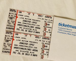 2 Jennifer Lopez lower level Concert tickets Friday July 26 Section 108 Row 19 Seat 6 & 7 for Sale in Miami, FL