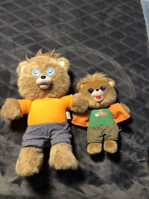 Teddy Ruxpin Lot Of 2 TASTED Big One No Batteries Inc, Small One Batteries Included for Sale in San Bernardino, CA