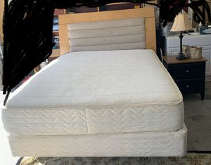 Queen bed mattress frame and night stand for Sale in Richardson, TX