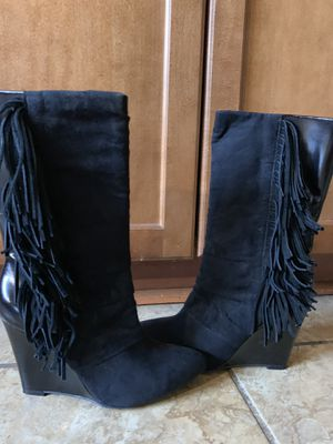 Cosmopolitan black fringe boots for Sale in Charles Town, WV