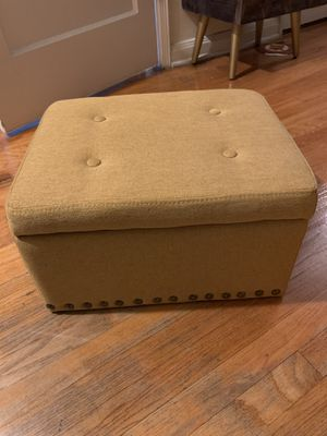 Small Mustard Yellow Storage Ottoman with Brass Accent Buttons at Bottom for Sale in Los Angeles, CA