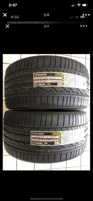 """(2) 20"""" Bridgestone 275/30/20 re050a brand new tires tire 100% tread for Sale in Alhambra, CA"""