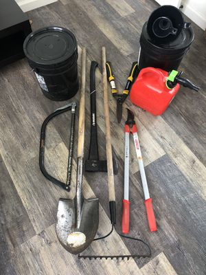 Garden & Landscape Tools & Gas Tank with 2 Funnels & 2 5-Gallon Buckets for Sale in San Diego, CA