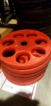 45LB RUBBER IVANKO REVOLVER OLYMPIC WEIGHTS PLATES $150 a PAIR for Sale in Queens, NY