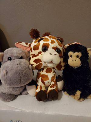 Stuffed animals Giraffe hippo & monkey for Sale in Hacienda Heights, CA