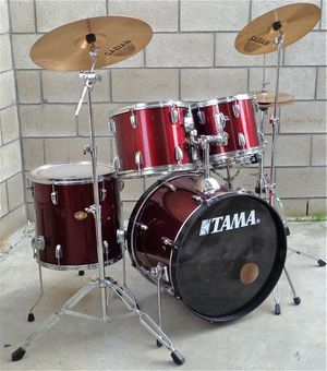 PRICE IS FIRM Tama Red Drum Set with Sabian Cymbals and Hardware for Sale in Industry, CA