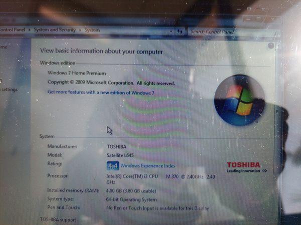 Toshiba Satellite L645D Laptop i3 370m