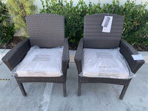 "New in box SET OF 2 Santa Fe Dining Brown Chair Outdoor Wicker Patio Furniture With Tan Sunbrella material Cushion $400 at Costco seat height 19"" wid for Sale in Whittier, CA"