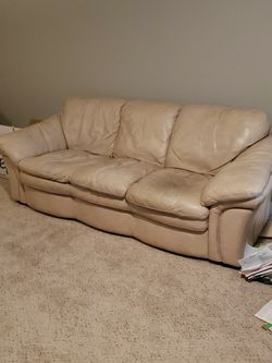 Genuine Cream Leather Couch for Sale in Phoenix,  AZ