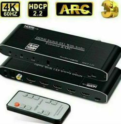 HDMI Switch 4 in 1 Out with Toslinkl/Coaxial/3.5mm Audio Out for Sale in Fontana,  CA
