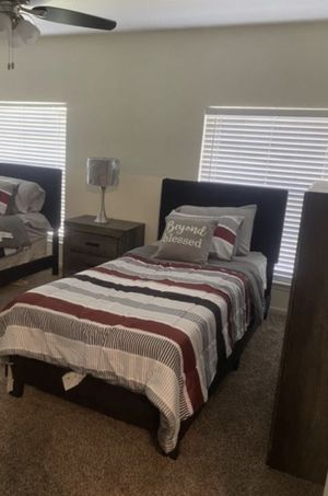 Twin bed frame free used mattress for Sale in Houston, TX