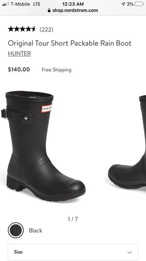 Hunter boots size 7 for Sale in Riverside, CA