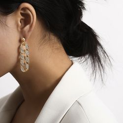 Simple crystal hip hop chain gold drop earrings, Gold for Sale in Los Angeles,  CA