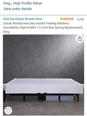 King size 7.5 inch high, metal box spring and mattress foundation for Sale in Columbia, MD