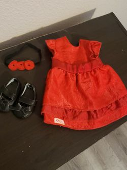 Doll Red Dress & shoes Outfit for Sale in Manteca,  CA