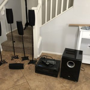 Harman JBL Cinema Sound CS6100 w/ Stands And Onkyo Reciever TX-SR606 for Sale in Gilbert, AZ