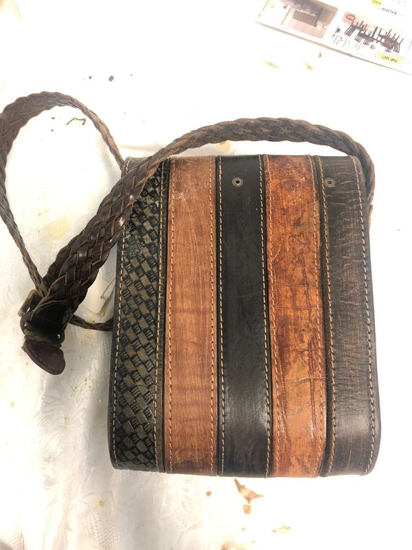 Retro leather bag made from vintage belts
