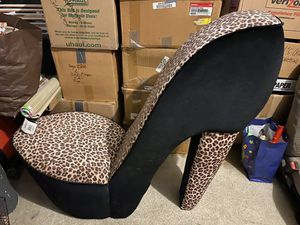 Accent Chair - One of a kind leopard print high heel shoe chair for Sale in Chula Vista, CA