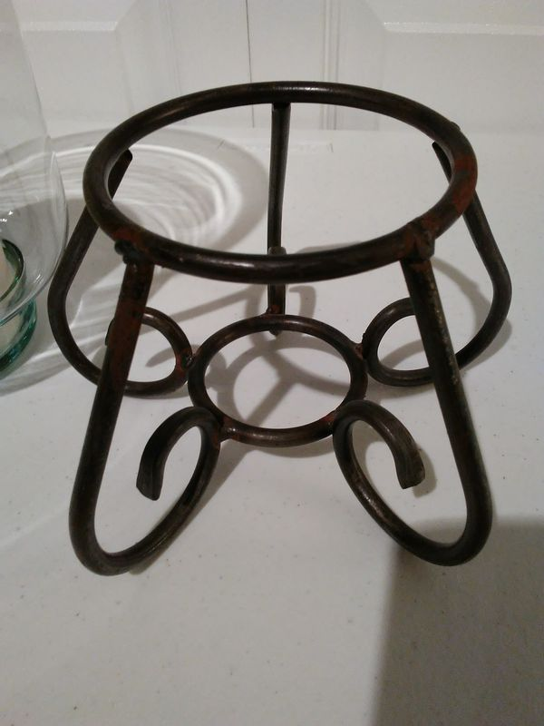 Glass Candle Holder in Wrought Iron Stand