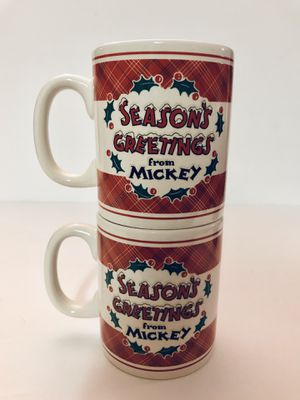 Set Of Two Mugs - Disney Store - Season's Greetings From Mickey for Sale in Leesburg, FL