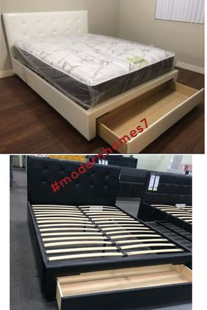 white or black full bed frame with storage drawer $170 queen $189 for Sale in Rancho Cucamonga, CA