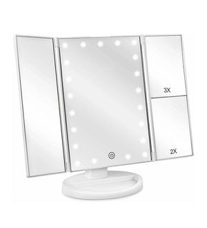 Makeup Vanity Mirror with Lights, 2X/3X Magnification, 21 Led Lighted Mirror with Touch Screen,180° Adjustable Rotation,Dual Power Supply for Sale in Cypress, TX