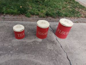 Flour, sugar and tea canisters for Sale in Rancho Cucamonga, CA