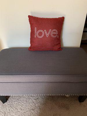 Gray Studded Storage Bench for Sale in Arlington, VA
